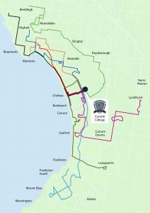 Map of bus routes from Hampton to Mount Eliza