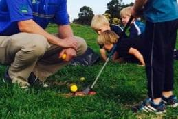 Sean Kirschenberg, Golf Program Coordinator and Certified PGA Golf Professional, teaching some of our Primary students.