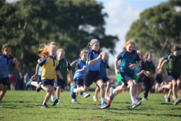 Primary students competing in cross country